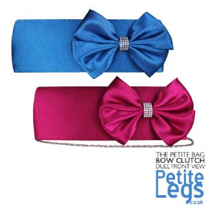 Katy Evening / Prom Giant Bow with Diamonte Brooch Petite Clutch / Shoulder Bag available in Blue and Pink